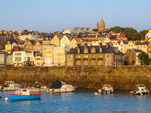 View of harbor Saint Peter Port at sunrise Royalty Free Stock Photo