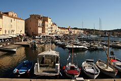View of the harbor and ships  St Tropez, France Stock Images