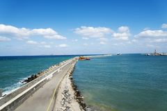 View of Harbor spit on the island of Crete. Royalty Free Stock Photos