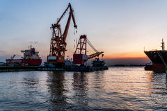 View of harbor at sunset in Jiangyin Royalty Free Stock Images