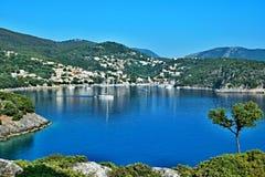 Greece, the island of Ithaki -view of the Kioni. A view of the harbor in town Kioni on the island of Ithaki in Greece Stock Images