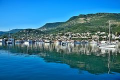 Greece, the island of Ithaki -view of the Vathi. A view of the harbor and town Vathi on the island of Ithaki in Greece Stock Photos
