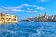 View of a harbor in Valletta, Malta. The old, ramshackle building overlooking the sea, Valletta marina Stock Images