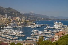 View of Harbor, Yachts and Residential Areas in Monte Carlo Monaco Stock Photo