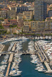 View of Harbor, Yachts and Residential Areas in Monte Carlo Monaco Stock Image
