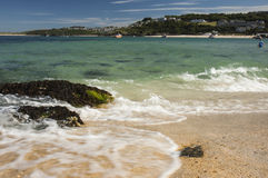 View of harbour from beach at St, Ives Cornwall Royalty Free Stock Image