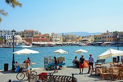 View of the harbour, Chania. Stock Photo