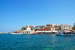 View of the harbour, Chania. Royalty Free Stock Photo