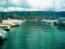 View on the harbour of lake Zug. Switzerland Royalty Free Stock Photography
