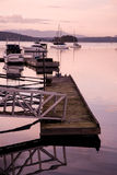 View of harbour and marina at Brentwood Bay, BC at sunset Stock Photo