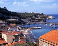 View of harbour, Marina di Puolo, Italy. Stock Photography