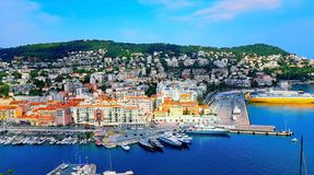 View of the harbour port from the Castle Hill, French Riviera. Nice, Cote d`Azur, France.  stock image