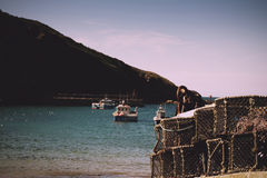 View of the harbour at Port Issac Vintage Retro Filter. Royalty Free Stock Photo