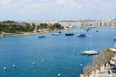 The view on harbour and sail yachts. Sliema, Malta Royalty Free Stock Photo
