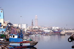 View from harbour to mosque Stock Image
