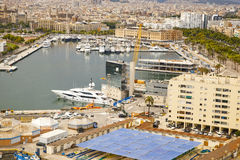 View of harbour with yachts in Barcelona Stock Images