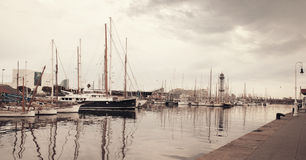 View of harbour with yachts in Barcelona Royalty Free Stock Photography