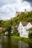 View on the Harburg Castle from the bridge over the river of Wornitz in the city of Harburg in Bavaria, Germany. stock photo