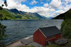 View of Hardanger fjord, Hordaland county, Norway.  royalty free stock photography