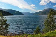View of Hardanger fjord and Kinsarvik bay, Hordaland county, Norway.  royalty free stock photo
