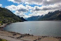 View of Hardanger fjord near Lofthus, Hordaland county, Norway.  royalty free stock photos