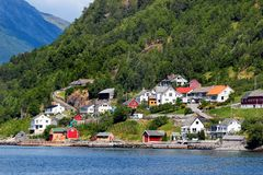 View of Hardanger fjord near Sekse, Hordaland county, Norway.  stock photography