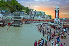 View on Hardwar at the river Ganges in India on 24th of april 2017 Stock Images