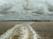 View on Harlingen harbor. From ferry to Terschelling Stock Photo