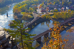 A view on Harpers Ferry town from the outlook in autumn. Stock Photography