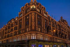 View of Harrods with christmas decorations Stock Photo