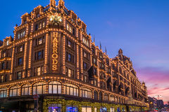 View of Harrods with christmas decorations Stock Images