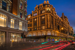 View of Harrods with christmas decorations Stock Photography