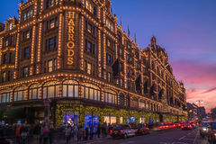 View of Harrods with christmas decorations Royalty Free Stock Photos