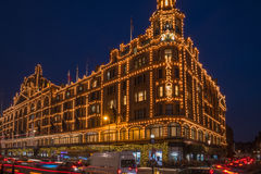 View of Harrods with christmas decorations Stock Image