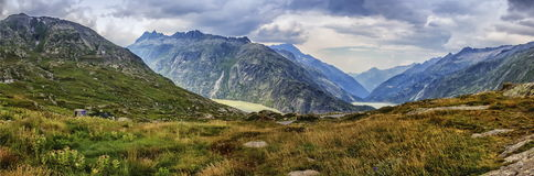 View on Hasli valley from Grimselpass, Bern canton Stock Images