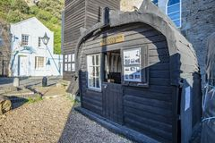 The famous Half-Sovreign Cottage in the Fisherman`s Museum quarter, Hastings, East Sussex, England. A view of the Hastings Fisherman`s Museum quarter. Here are stock photo