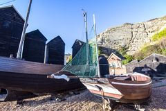 View of the Fisherman`s Museum quarter, Hastings, East Sussex, England. View of the Hastings Fisherman`s Museum quarter. Here are many old fishing boats and stock photo