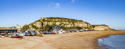 View of the Stade Fishing Quarter, Hastings, East Sussex, England. View of the Hastings Fishing Fleet preparation and maintenance area. Here are many active royalty free stock photos