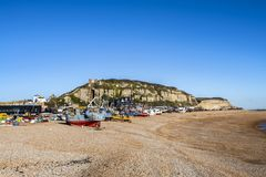 View of the Stade Fishing Quarter, Hastings, East Sussex, England. View of the Hastings Fishing Fleet preparation and maintenance area. Here are many active royalty free stock image