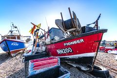 View of the Stade Fishing Quarter, Hastings, East Sussex, England. View of the Hastings Fishing Fleet preparation and maintenance area. Here are many active stock images