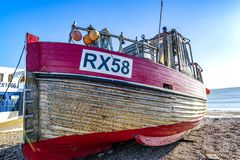 View of the Stade Fishing Quarter, Hastings, East Sussex, England. View of the Hastings Fishing Fleet preparation and maintenance area. Here are many active royalty free stock photography