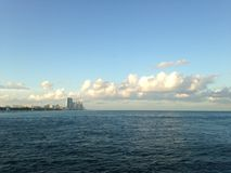 View of Haulover Park and Sunny Isles Beach from a Pier in Bal Harbour Beach in Miami. Stock Image