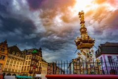 View of Hauptmarkt square in Trier, with historic fountain Stock Photography