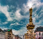 View of Hauptmarkt square in Trier, with historic fountain Royalty Free Stock Photo