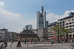View of the Hauptwache with Commerzbank skyscraper in the background, Frankfurt, Germany.  Stock Photos
