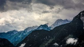 View from Haus Loderbichl on Austrian Alps and Lofer city timelapse stock video footage