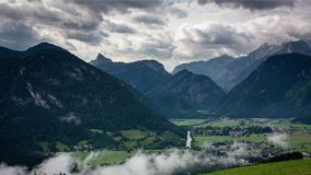 View from Haus Loderbichl on Austrian Alps and Lofer city timelapse stock video