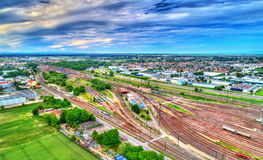View of Hausbergen Station, a classification yard near Strasbourg, France Stock Photos