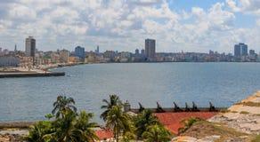 View of Havana from Castillo de los Tres Reyes Magos del Morro Royalty Free Stock Images