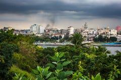 View of Havana from La Fortaleza de San Carlos de la cabana at dusk Stock Image